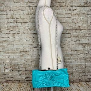 Turquoise clutch crossbody bag flower bow New